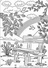 Coloring Adults Bench Printable Farm Sheets Scenes Adult Tree Colouring Suchbilder Kostenlos Landscape Ausmalbilder Dibujos Mandala Magic Nature Spiele Zum sketch template