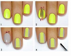 Lovely Nails in Grey and Neon Yellow Beauty