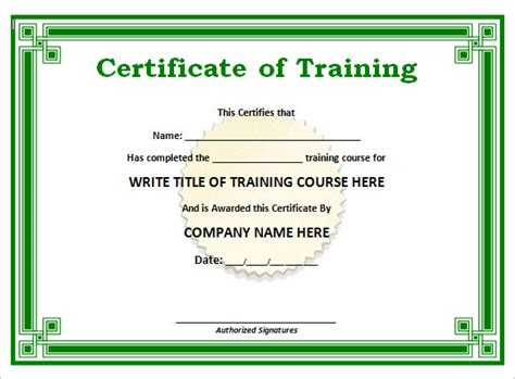 training certificate templates  samples