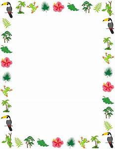 A rainforest page border with animals and plants from the rainforest Free downloads at http