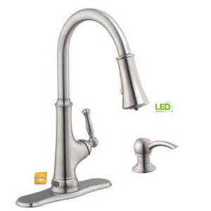 glacier bay pull kitchen faucet glacier bay touchless single handle pull sprayer kitchen faucet with led light in stainless