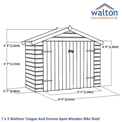 7 x 3 waltons tongue and groove apex wooden bike shed