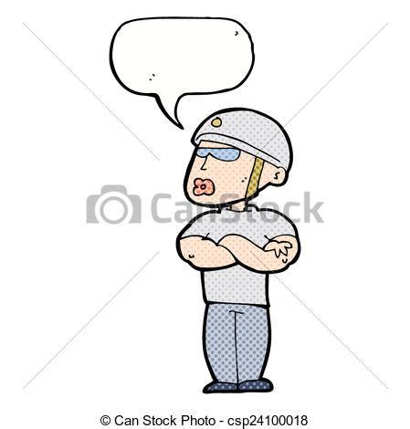 vector clip art  cartoon security guard  speech