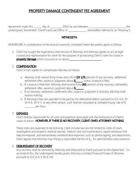 attorney retainer contract property damage contingent