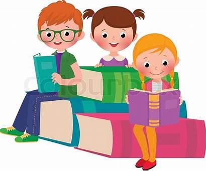 Reading Children Cartoon Illustration Vector Books Colourbox
