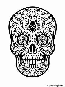 Dessin Tete De Mort Avec Rose : coloriage squelette halloween tete de mort ~ Melissatoandfro.com Idées de Décoration