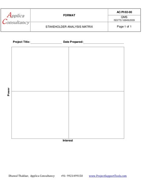 stakeholder analysis matrix  applica consultancy