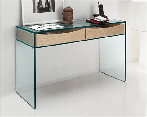 table bureau verre tonelli gulliver clear glass desk console table glass desks