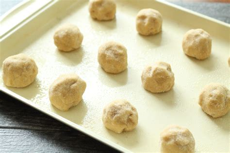 peanut butter cookie dough sheet cookies baking sugar rest coated onto place covered
