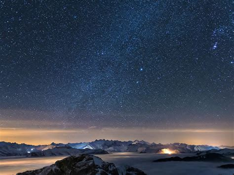 beautiful night scenery galaxy hd wallpaper  preview