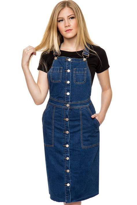 Womens Denim Button Through Pocket Sleeveless Dungaree Ladies Pinafore Dress | eBay
