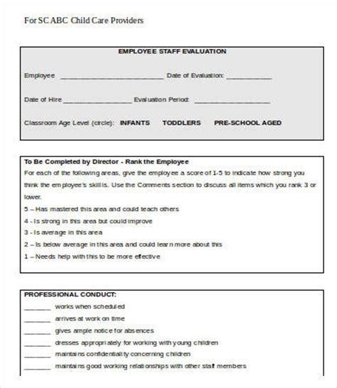 employee evaluation form template 13 free word pdf 179 | Child Care Employee Evaluation Form