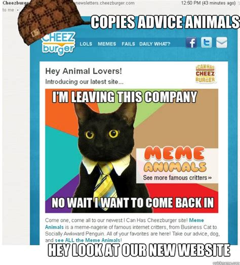 Animal Advice Meme - copies advice animals hey look at our new website scumbag memebase quickmeme