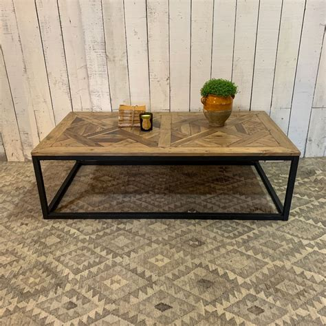 Alaterre stowe 42l reclaimed wood coffee table, brown. Large reclaimed wood parquet coffee table - Home Barn Vintage