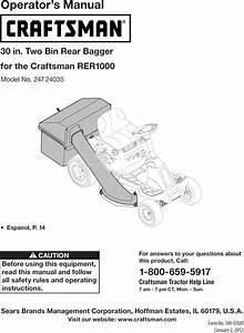 Craftsman 24724035 User Manual Twin Rear Bagger Manuals