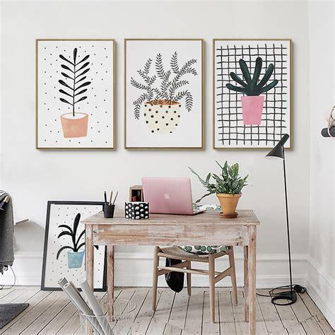 kawaii cute plant flowers poster print modern nordic