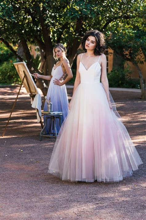 Cleo And Clementine Ombre Dip Dyed Tulle Ballgown