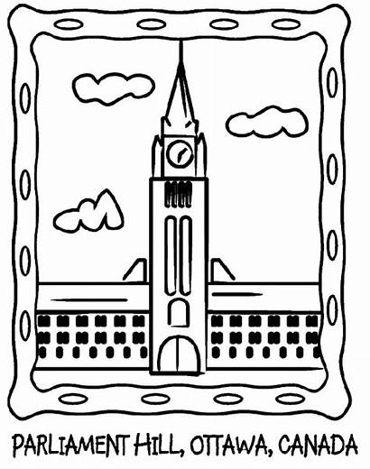 Coloring Parliament Canada Hill Pages Ottawa Canadian