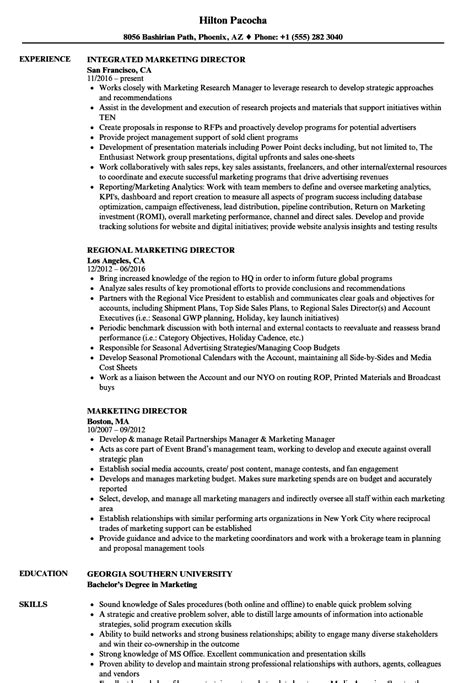 marketing director resume sles velvet
