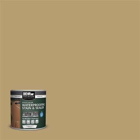 behr premium 8 oz sc 145 desert sand solid color waterproofing exterior stain and sealer
