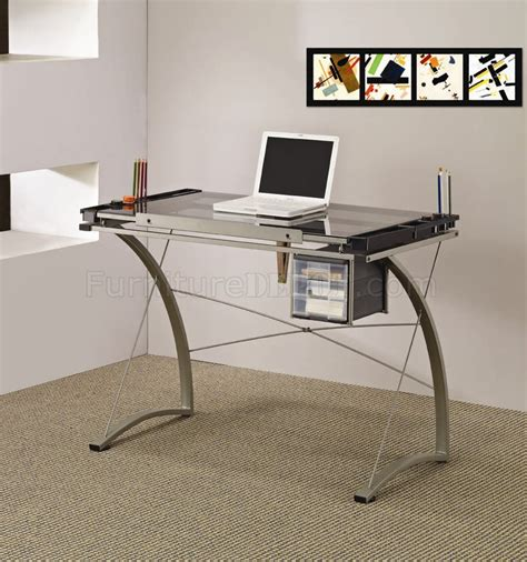metal and glass office desk glass top metal base modern drafting home office desk