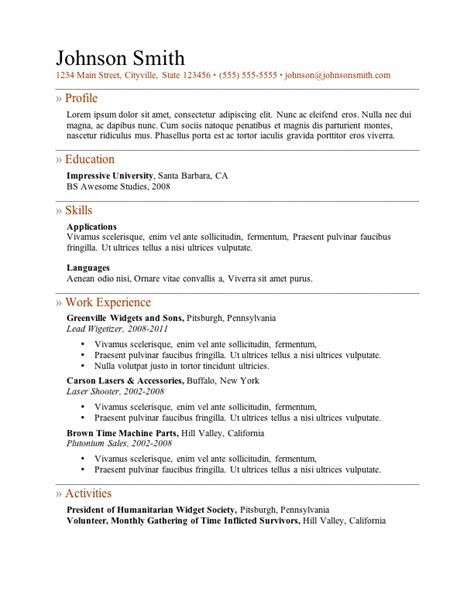 Free Word Resume Template by My Resume Templates