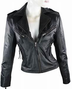 Veste Style Motard Femme : veste courte en cuir femme ajust style motard noir r tro ~ Melissatoandfro.com Idées de Décoration