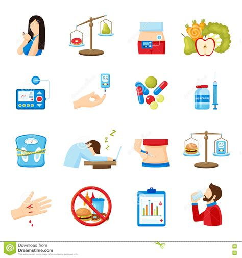 diabetes symptoms signs flat icons collection stock vector