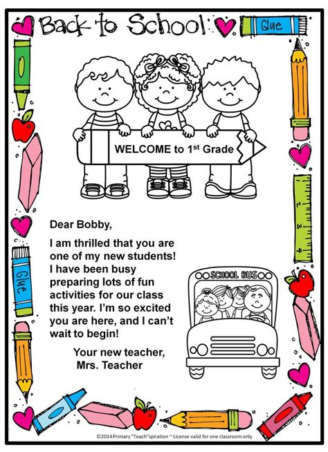 back to school welcome letter and postcard editable 141 | 782f615a35473b65e9a0703072ccd870 beginning of school starting school