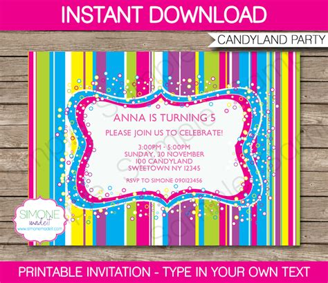 candyland party printables invitations decorations
