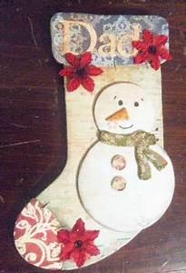 Homemade Scrapbook Snowman Stocking