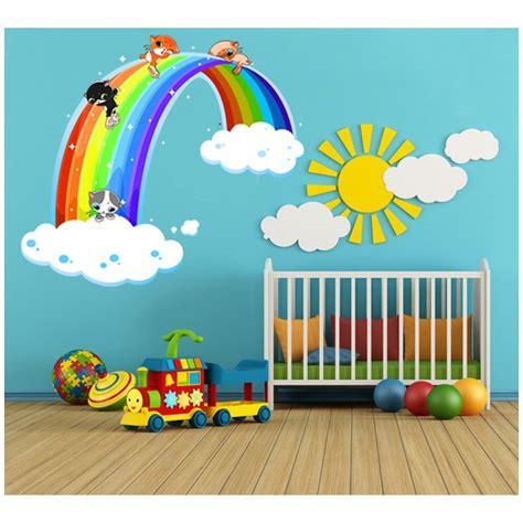 stickers chambre bébé jungle sticker arc en ciel et chatons pour chambre bébé et enfant