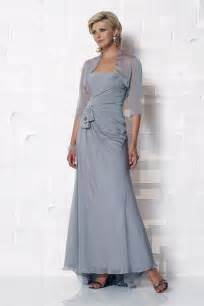Chiffon Silver Mother Of The Bride Dresses With Jacket