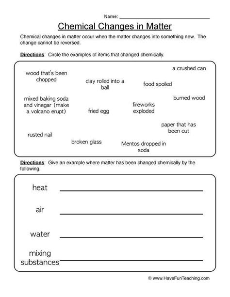 Worksheet On Chemical Vs Physical Properties And Changes Homeschooldressagecom