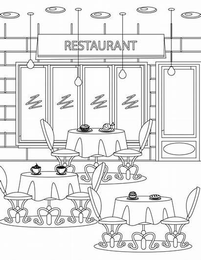 Restaurant Coloring Coloriage Imprimer Pages Tous Adult