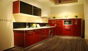 modern red and black uv lacquer kitchen cabinet nanjing With kitchen colors with white cabinets with clear sticker printing