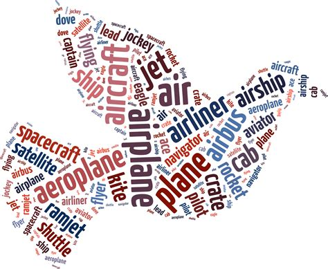 clipart flying dove word cloud typography