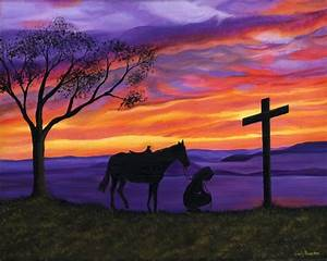 8x10 print of girl kneeling at the cross with horse at ...
