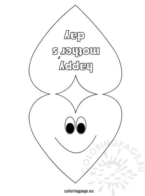 happy mothers card heart template coloring page