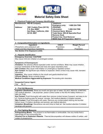 material safety data sheet msds wd 40 2018 2019 2020
