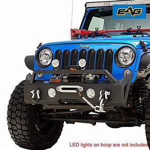 Eag Stubby Front Bumper With Winch Plate And Fog Light