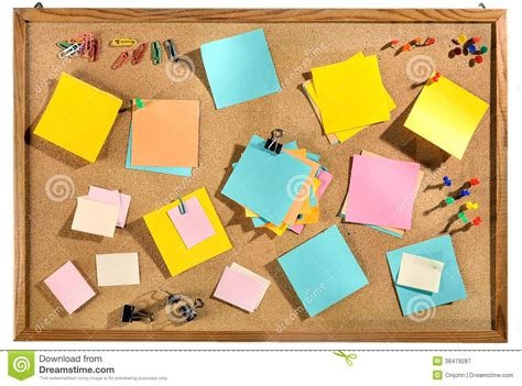 bureau post it blank colorful post it notes and office supplies on cork