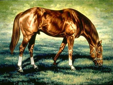 Secretariat Grazing By Werner Rentsch Oil Painting