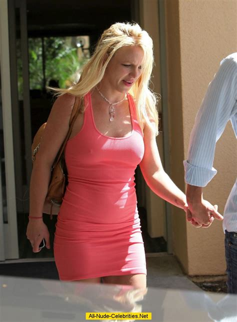 britney spears hard nipples  pink dress paparazzi shots