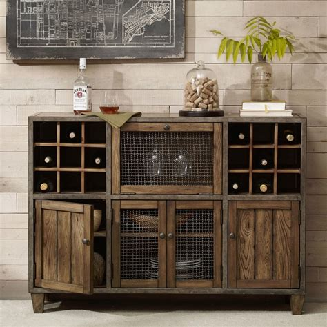 industrial rustic liquor storage wine rack wood buffet