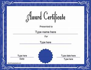 Award template for Certificatestreet com