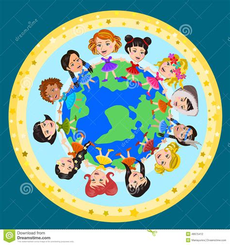 world kids stock vector image