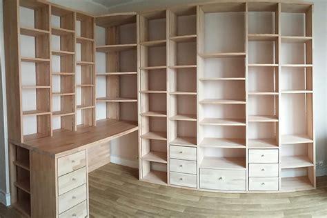 bibliotheque bureau fabrication bibliothèque et bureau d 39 angle sur mesure en bois