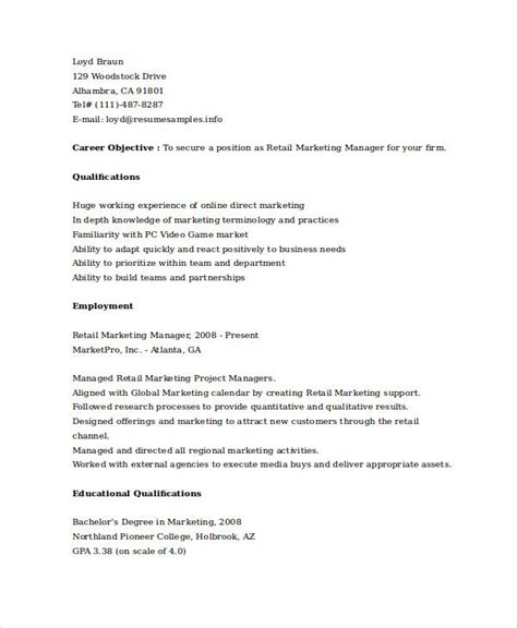 retail marketing manager resume marketing resume sles for successful hunters