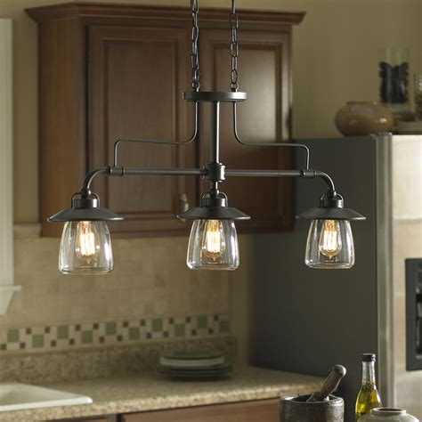 kitchen island and table lighting shop allen roth bristow 36 in w 3 light mission bronze
